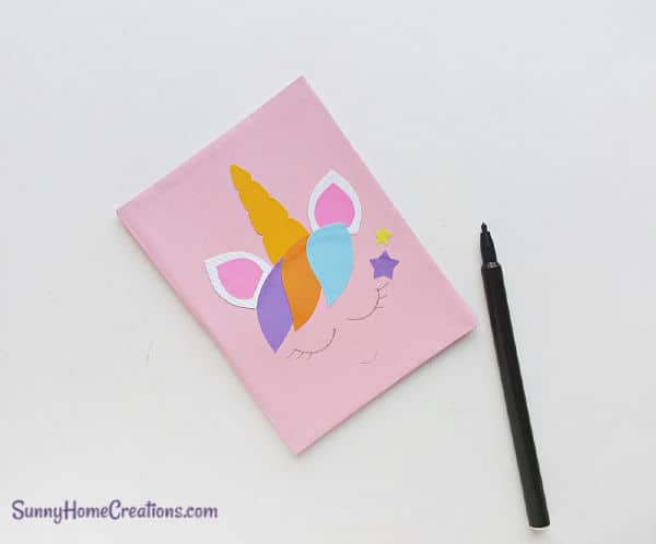 DIY School Supplies Unicorn Notebook Step 13