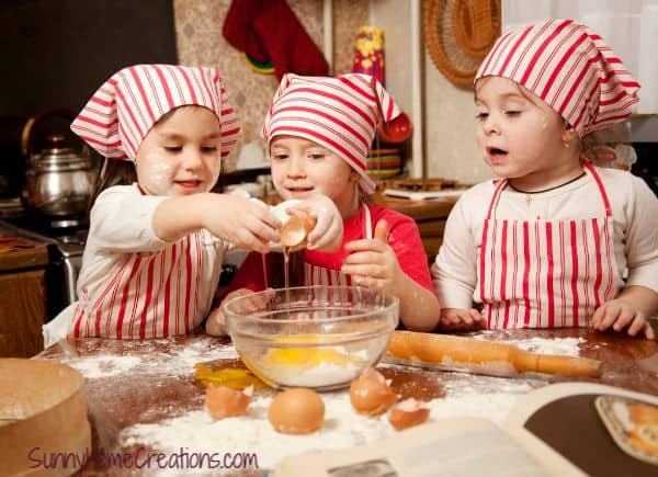 Kids cooking having fun making a mess