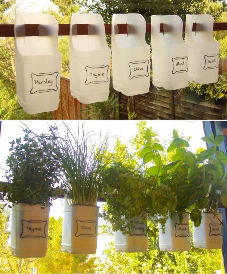 Recycled Milk Bottle Vertical Garden