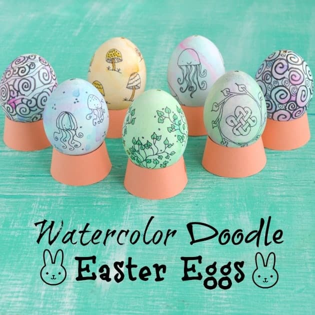 Watercolor Doodle Easter Eggs