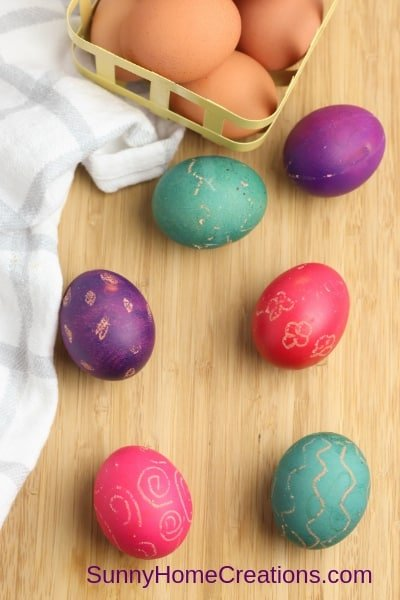 dyeing eggs with food coloring
