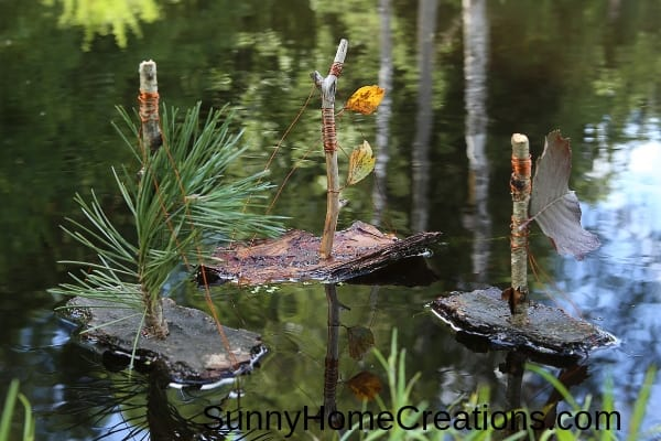making boats out of sticks and bark while camping