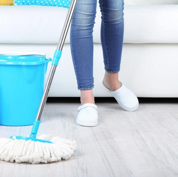cleaning the floor with natural floor cleaner recipe