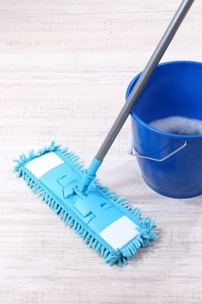 mopping floor with homemade floor cleaner