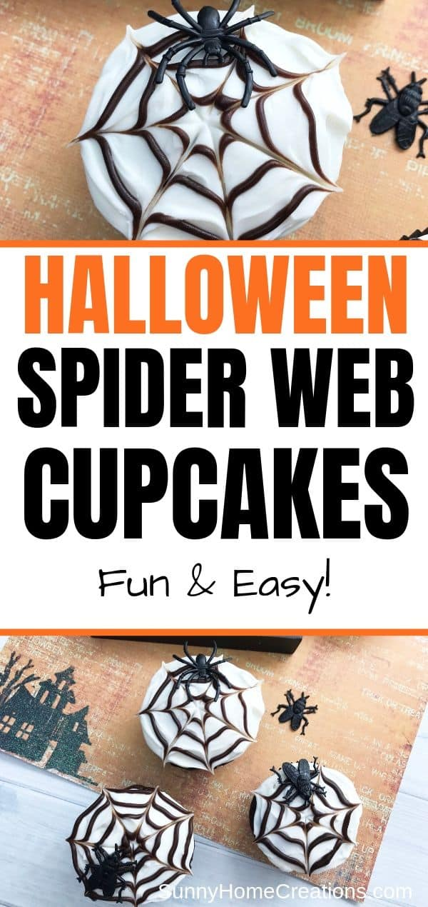 Spider web cupcakes pin image