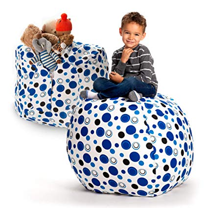 "Creative QT Stuffed Animal Storage Bean Bag Chair - Extra Large Stuff 'n Sit Organization for Kids Toy Storage - Available in a Variety of Sizes and Colors (38"", Blue Polka Dot)"
