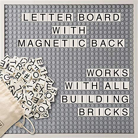 Creative QT Brick Building Letter Board -with Over 285 StoryBricks Letters and Symbols - Changeable Building Brick Message Board with Letters and Magnetic Backing - Grey 10 x 10 Inch