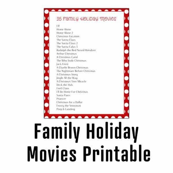 Holiday Movies Printable
