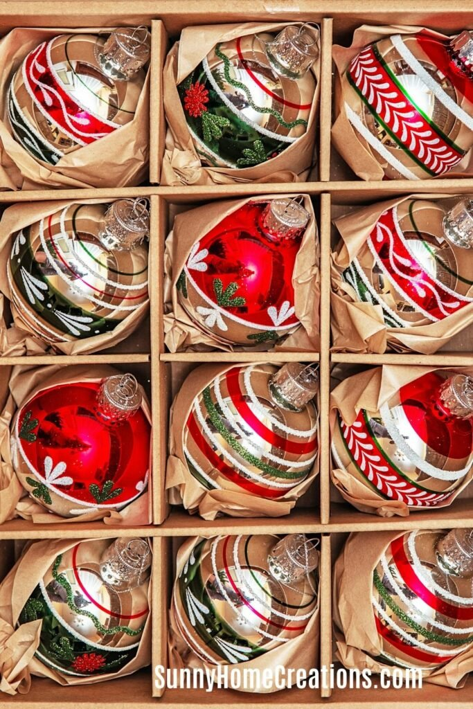 Christmas Ornaments Stored in Box