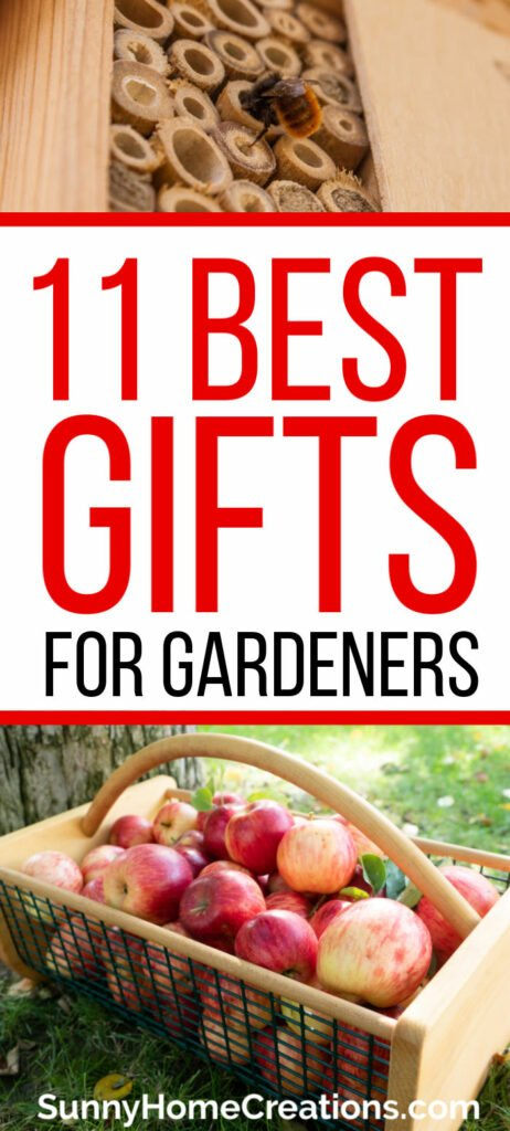 Pin image for Pinterest - 11 best gifts for gardeners written in the middle with a mason bee house on top and a gardening hod filled with apples on the bottom.