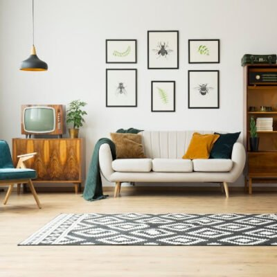 picture of a living room with a rug in front of a couch