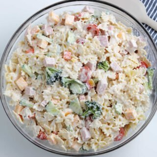 top down view of pasta salad in large bowl.